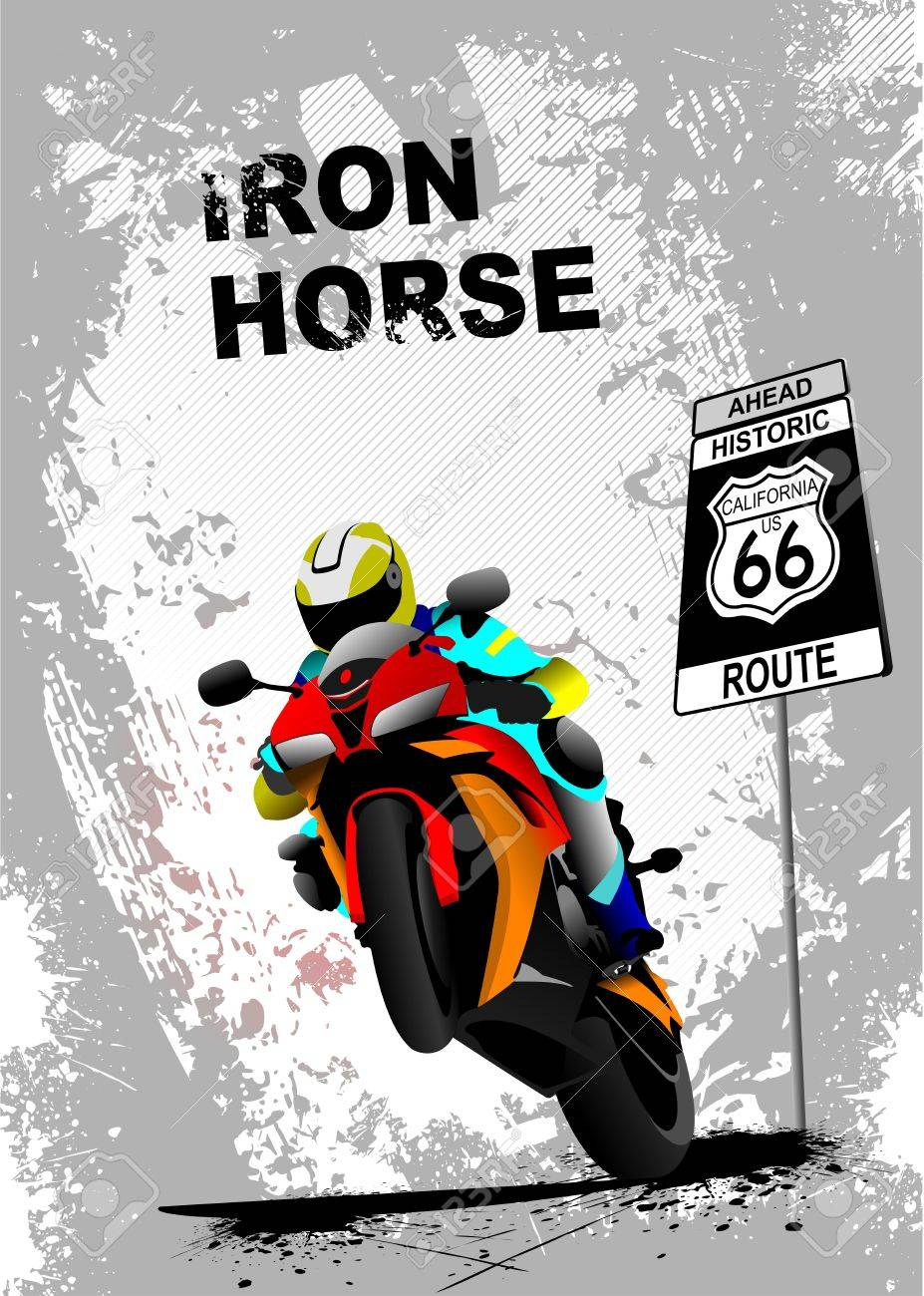 Grunge gray background with motorcycle image. Iron horse. Vector illustration Stock Vector - 11093335