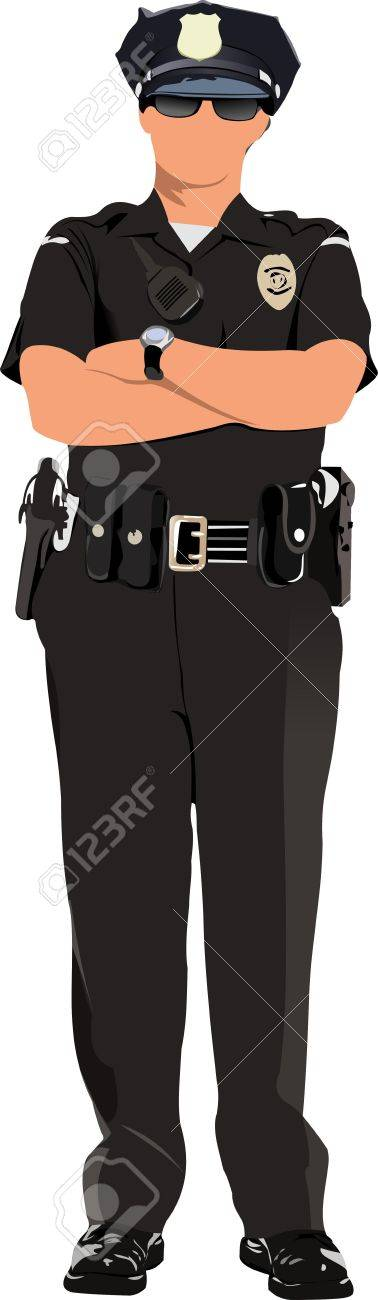 Police woman looking forward  isolated on white. Vector illustration Stock Vector - 11383745