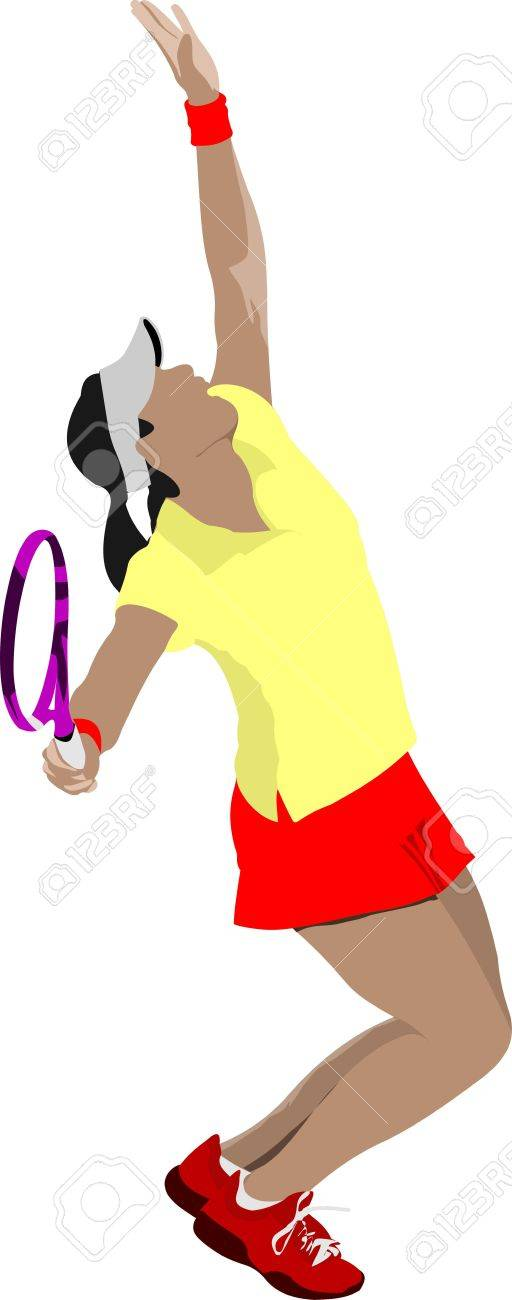 Tennis player. Colored  illustration for designers Stock Vector - 12332045