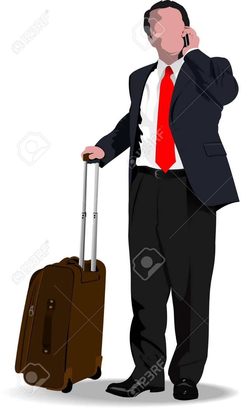 Business man with suitcase. illustration Stock Vector - 12332097
