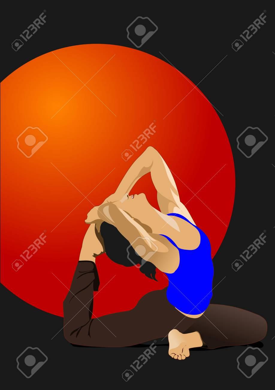 Yoga pose -  poster Stock Vector - 12332277