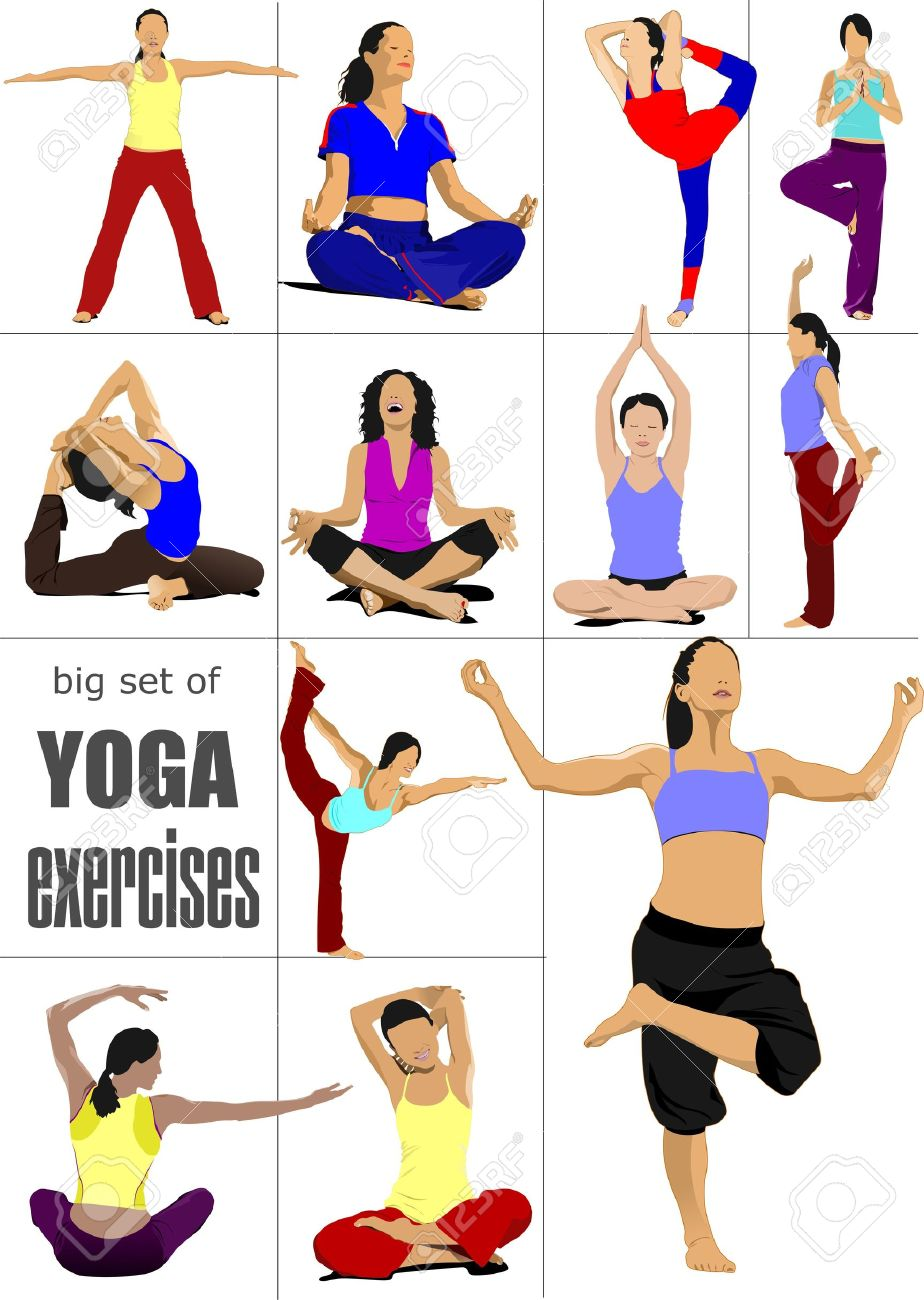 Big set of Yoga exercises -poster Stock Vector - 12332396
