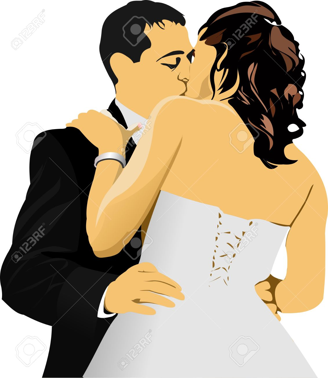 Kissing Couple. Bride and Groom.  illustration Stock Vector - 12332309