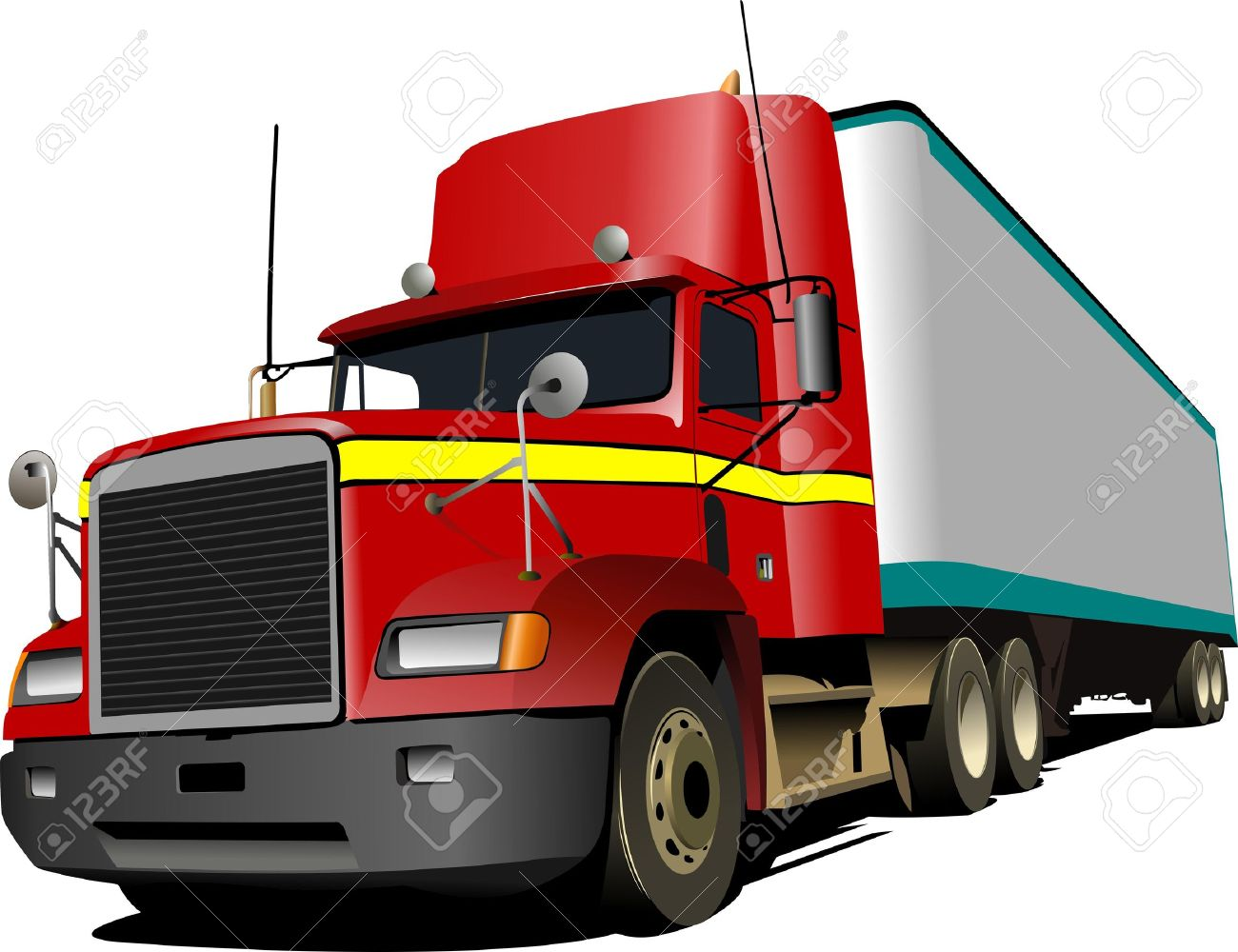 illustration of red truck lorry royalty free cliparts vectors and