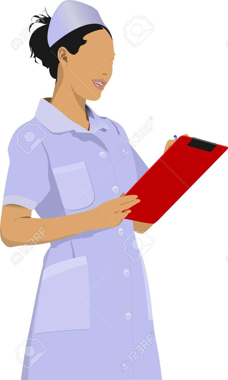 Nurse woman with white doctor`s smock Stock Vector - 12812176