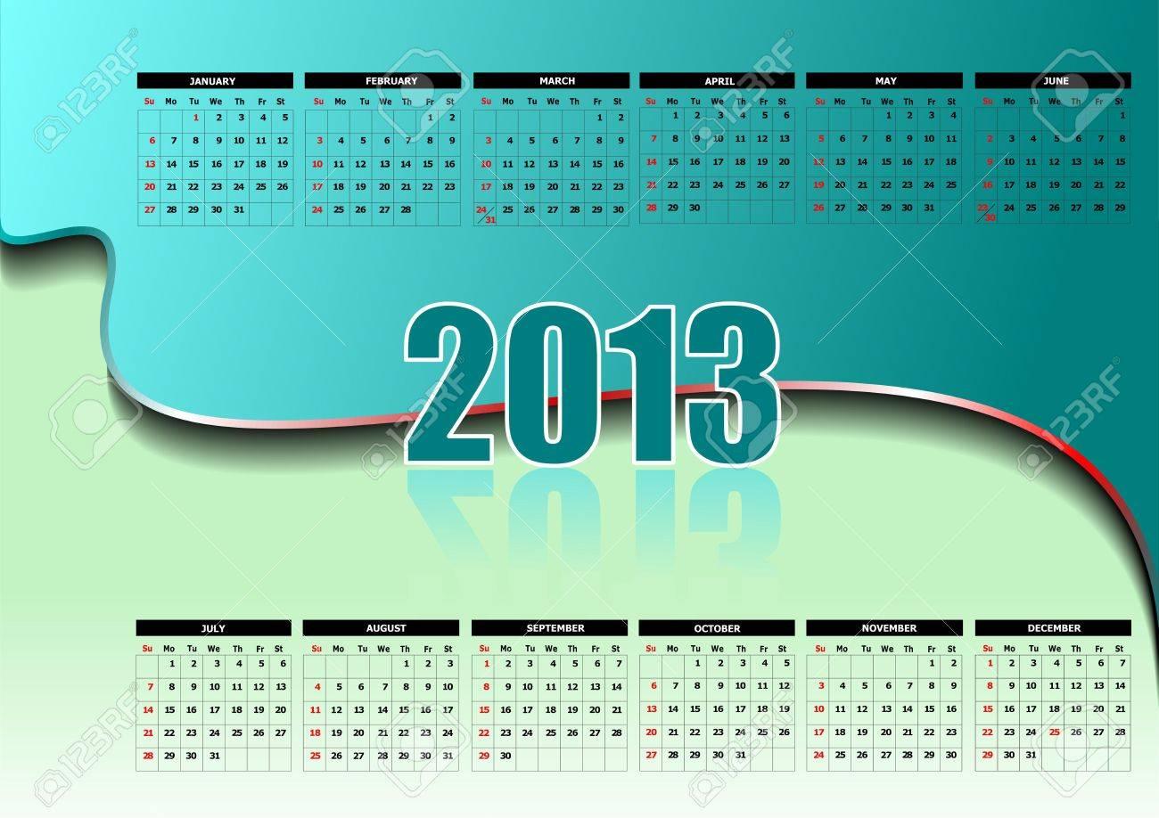 Calendrier 2013 avec jours fériés américains. Mois. illustration Banque d'images - 13057114