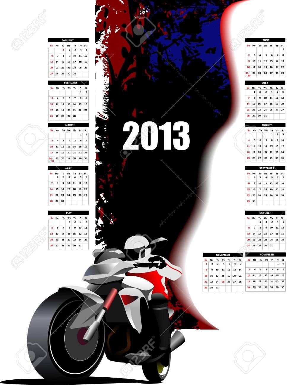 Calendar 2013 with biker image. Months. Vector illustration Stock Vector - 14829598