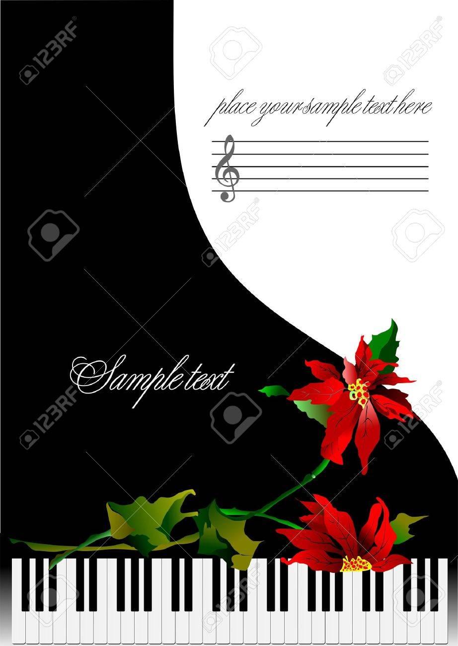 Template Grußkarte Mit Klavier Und Blume Oder Abdeckung Für Notizen ...