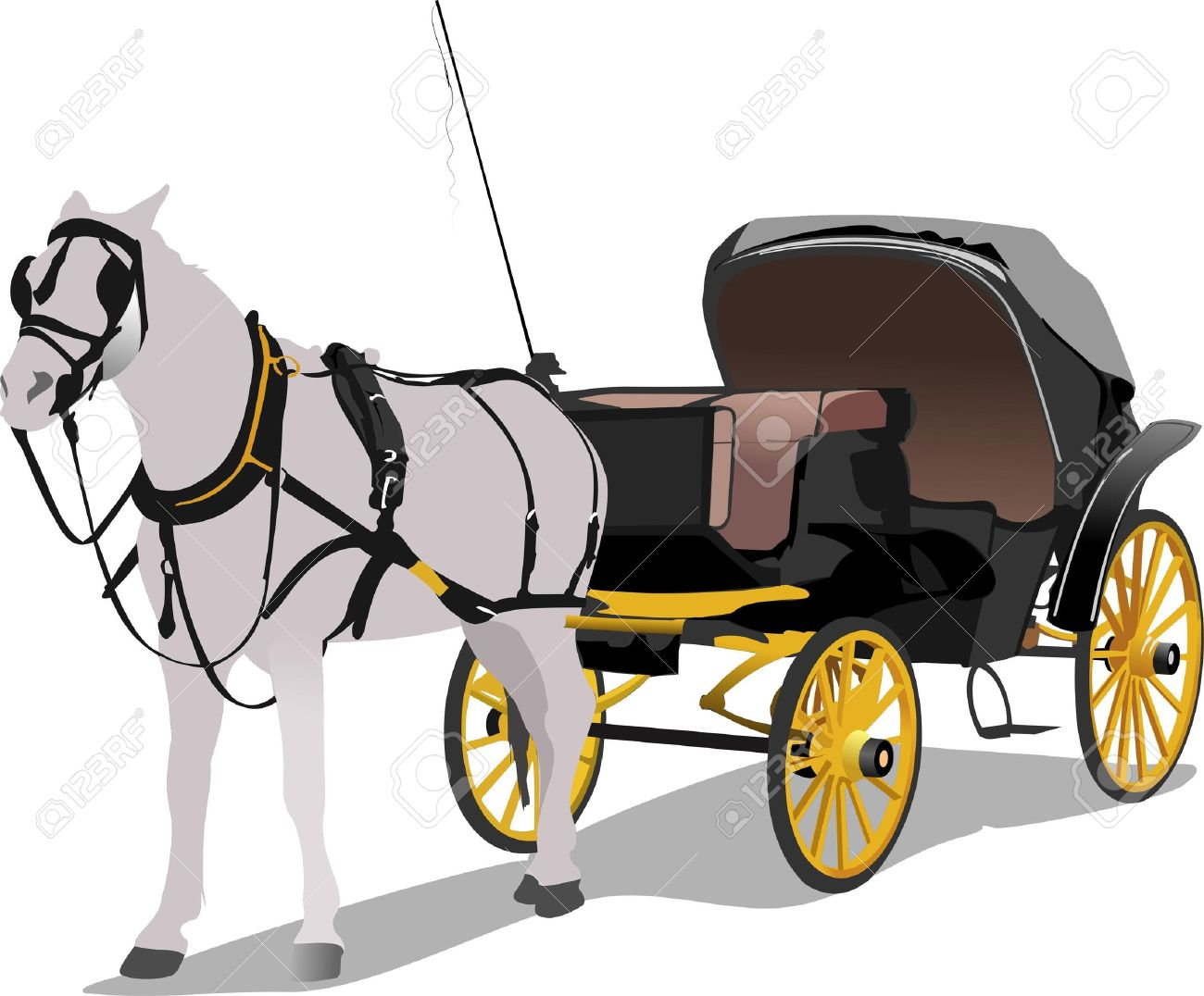 Horse Cart: Vintage Carriage And Horse Vector Illustration