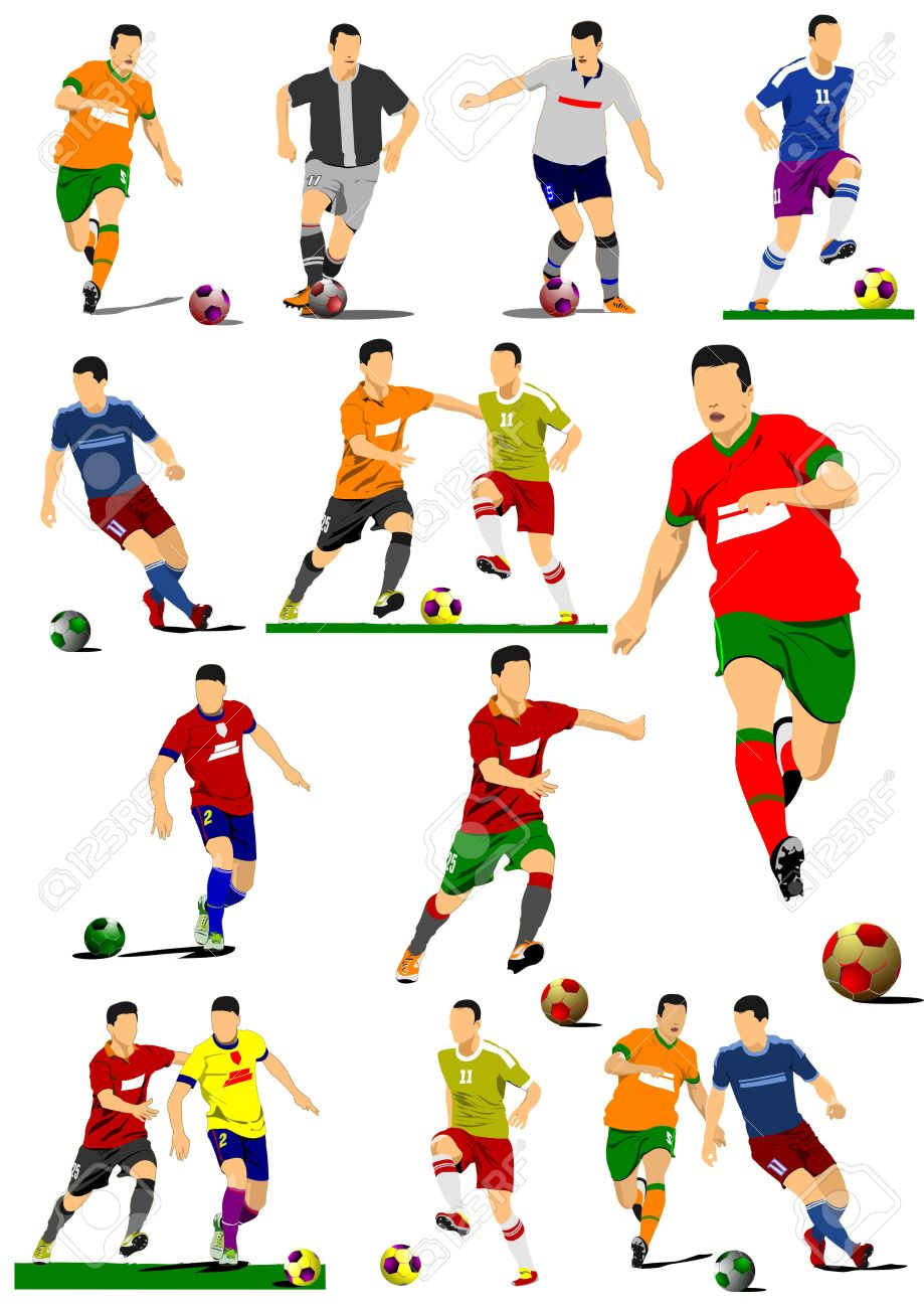 Big Collection Of Soccer Players Football Players Vector