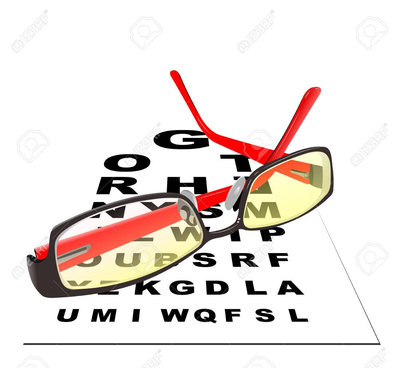 Glasses for reading with table for eye exams  Eps 10 Vector illustration Stock Vector - 23125697
