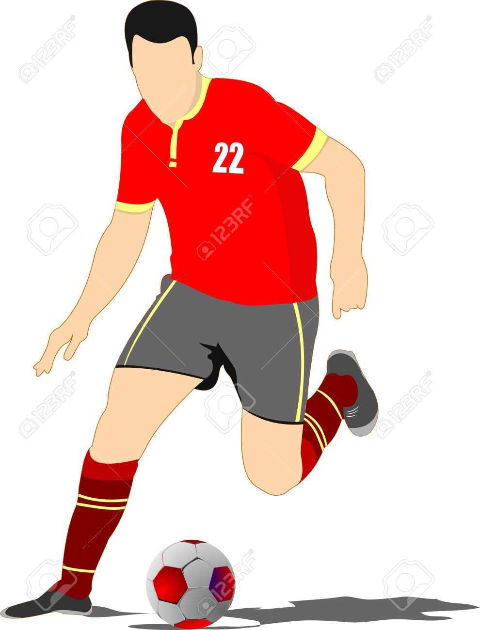 Soccer Player Poster Football Player Vector Illustration Royalty