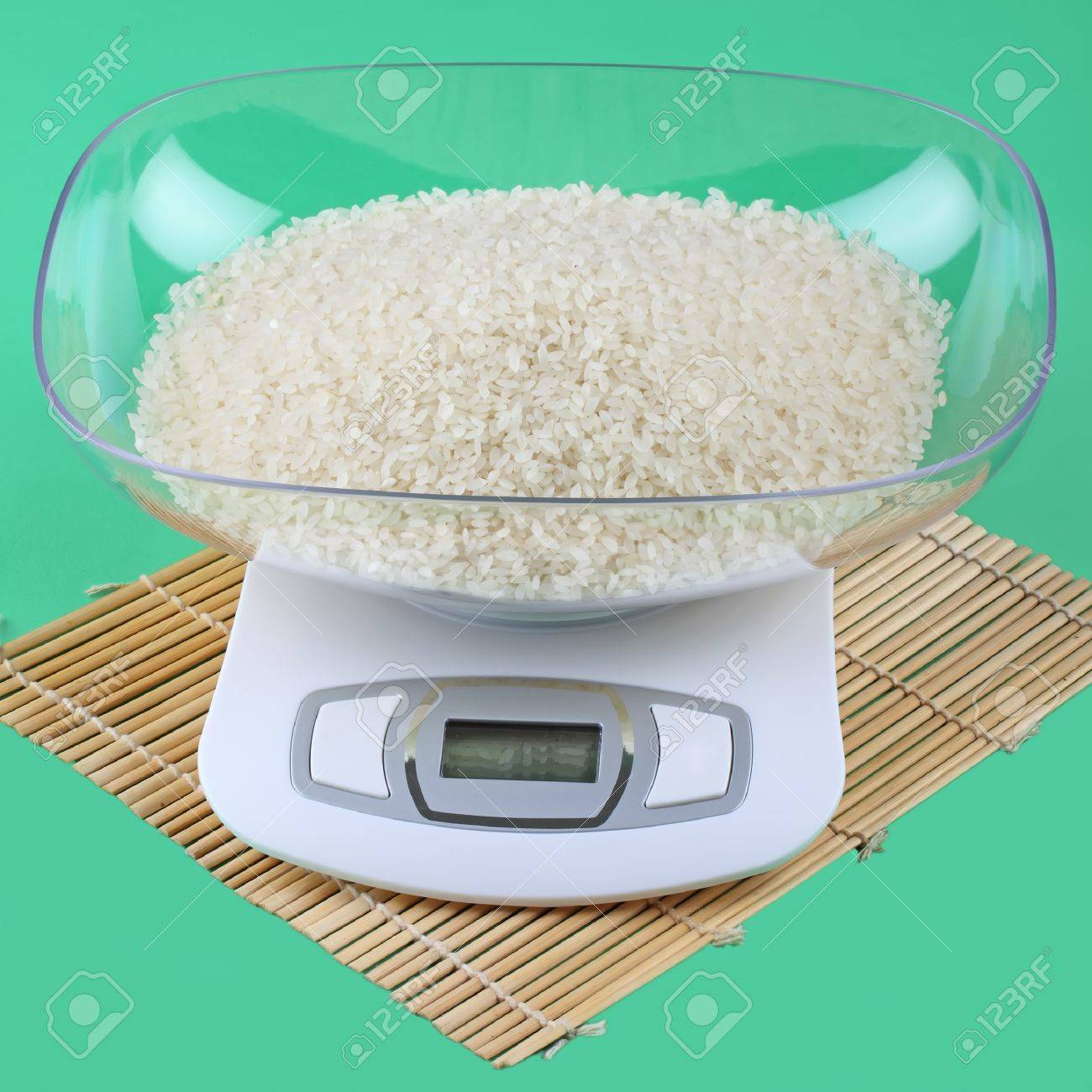 the kitchen scale with rice Stock Photo - 11762225