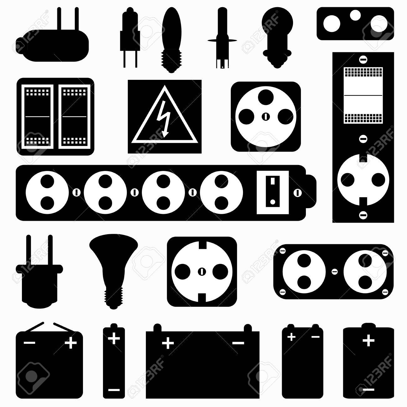 Electrical Equipment Monochrome Collection Of Symbols Royalty Free ...