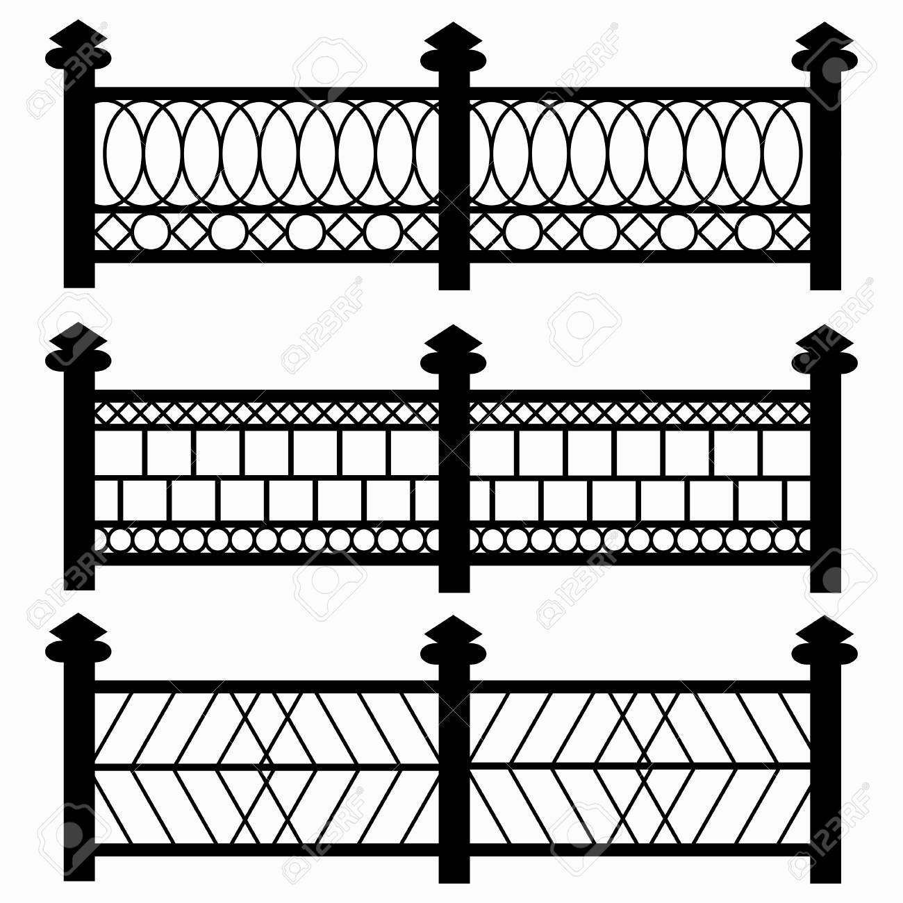 Fences Isolated Symbols Collection Royalty Free Cliparts Vectors