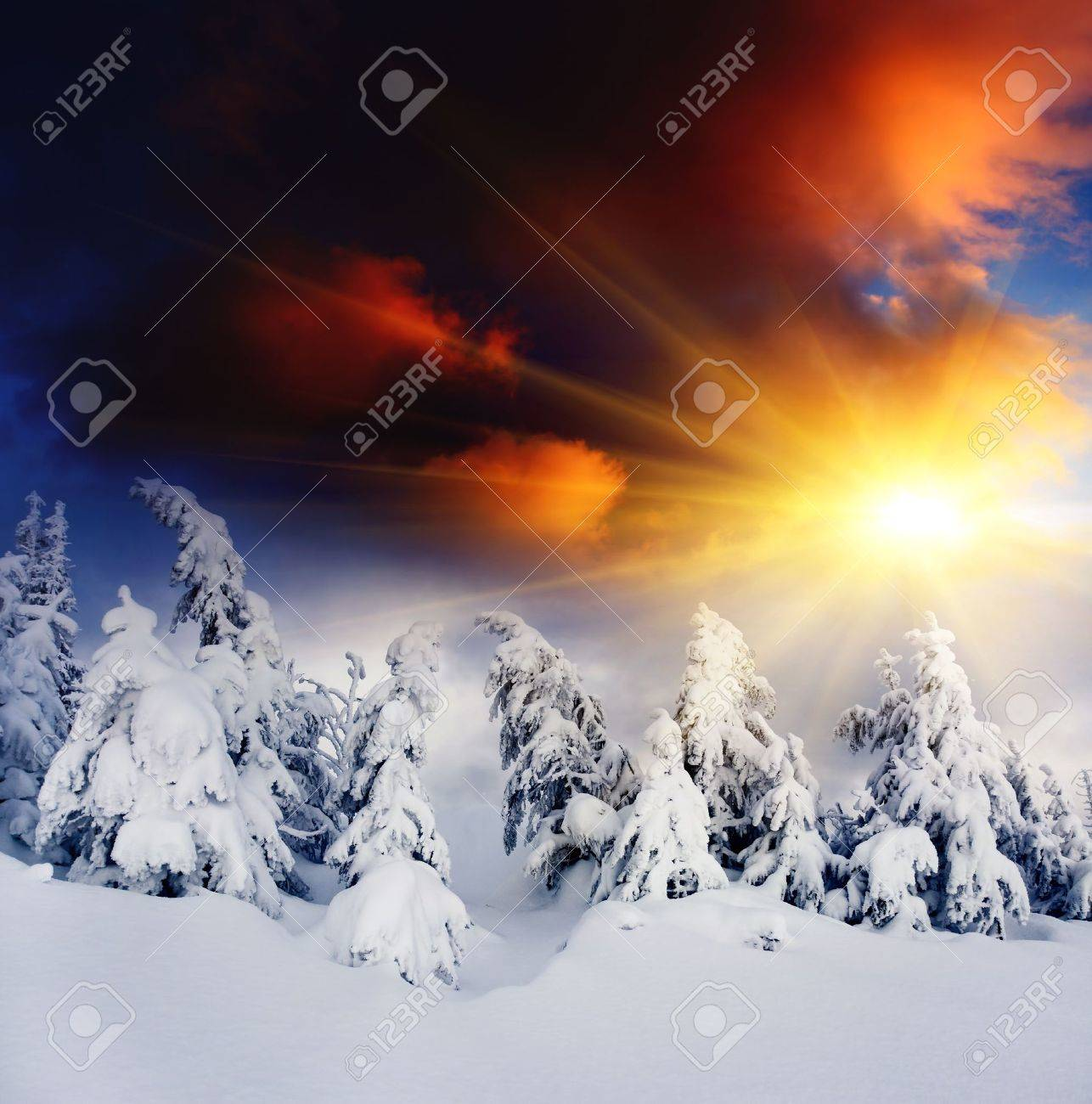 Majestic sunset in the winter mountains landscape  Dramatic sky Stock Photo - 13243461