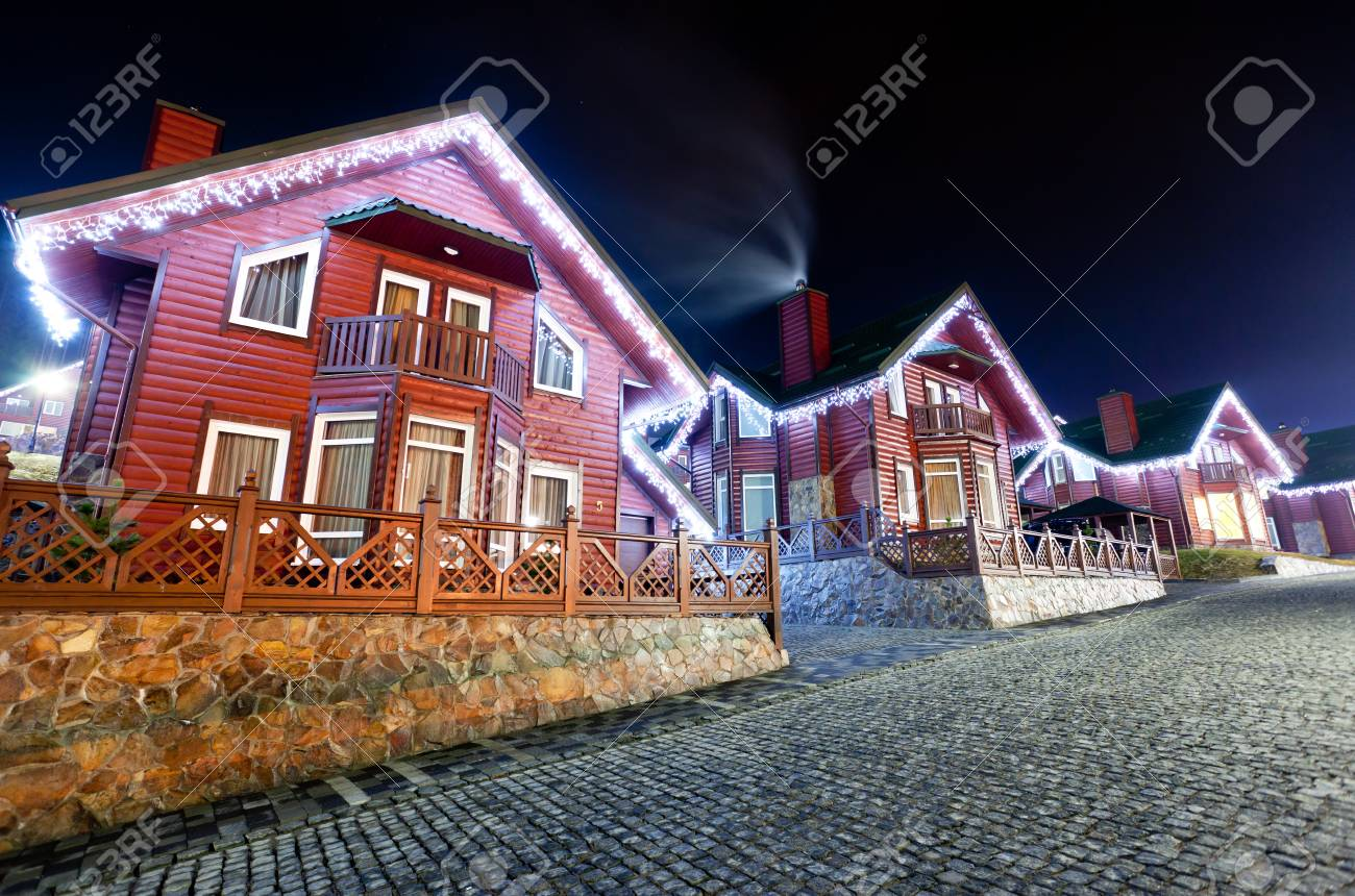 the residential house with christmas lights Stock Photo - 16949661