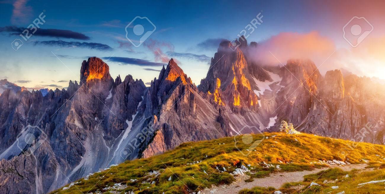 Great view of the top Cadini di Misurina range in National Park Tre Cime di Lavaredo. Dolomites, South Tyrol. Location Auronzo, Italy - 44978937
