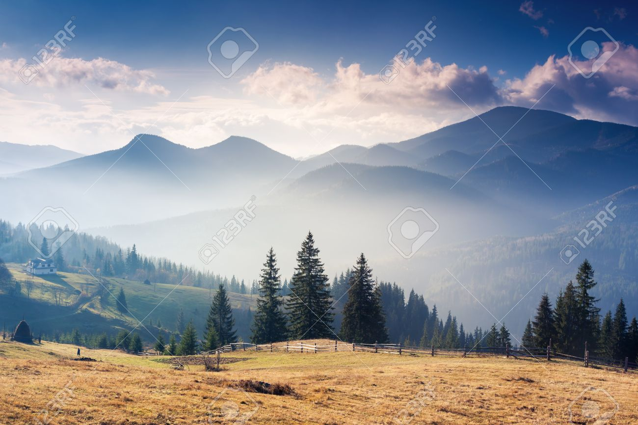 Majestic sunset in the mountains landscape with sunny beams. Dramatic scene in Carpathian, Ukraine - 44978943