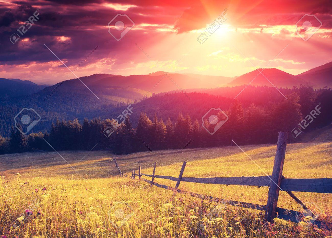 Fantastic sunny hills glowing by sunlight. Dramatic scenery. Carpathian, Ukraine, Europe. Beauty world. Retro style filter. Instagram colorful toning effect. - 47565755
