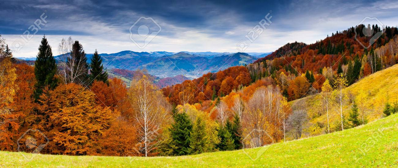 the mountain autumn landscape with colorful forest - 47566042