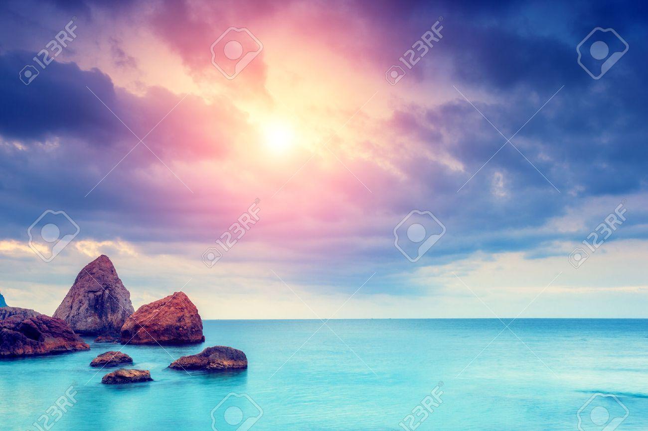 Fantastic morning blue sea glowing by sunlight. Dramatic scene. Black Sea, Crimea, Ukraine, Europe. Beauty world. Retro style filter. - 47565791