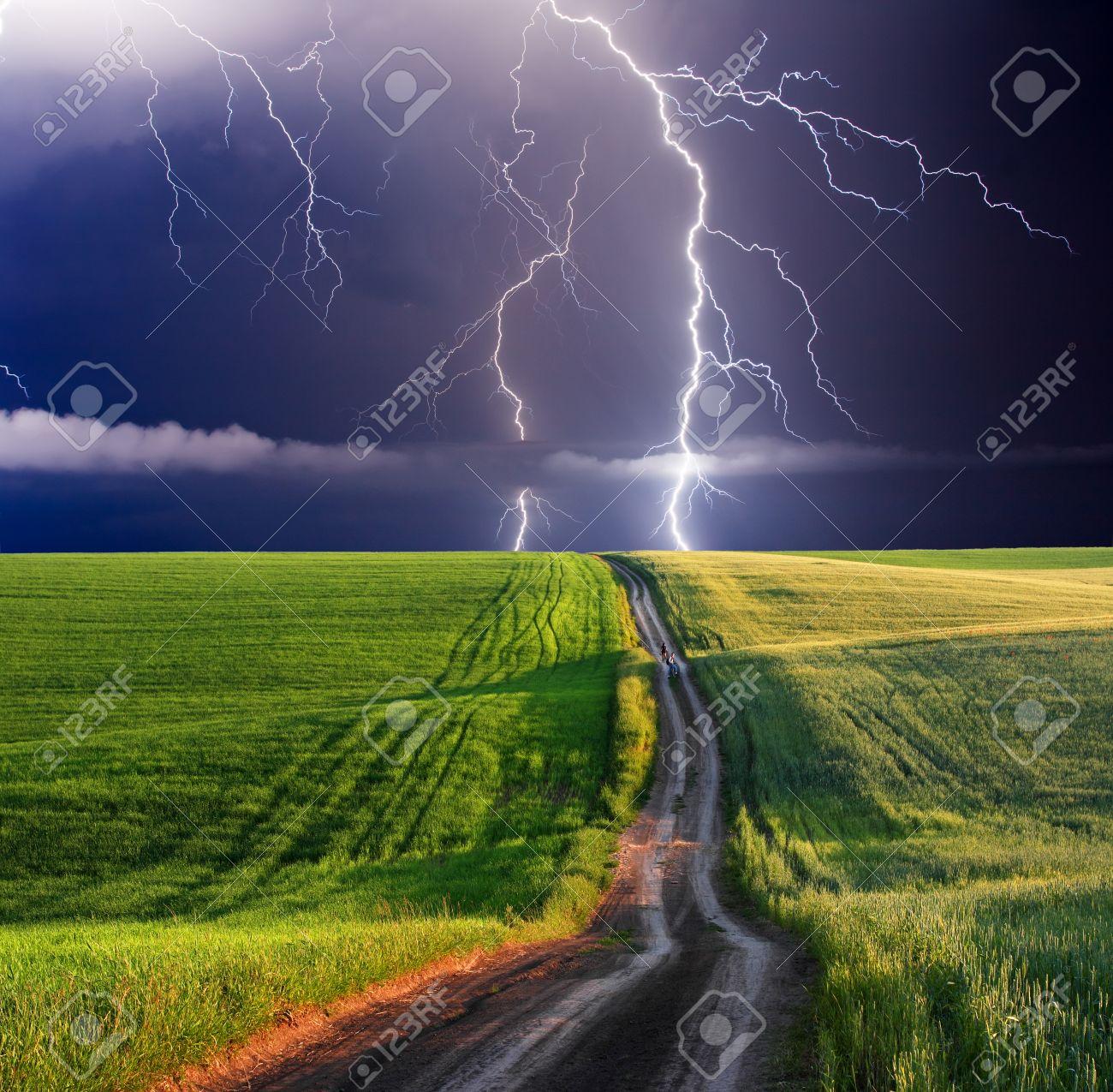 summer storm beginning with lightning - 47805508