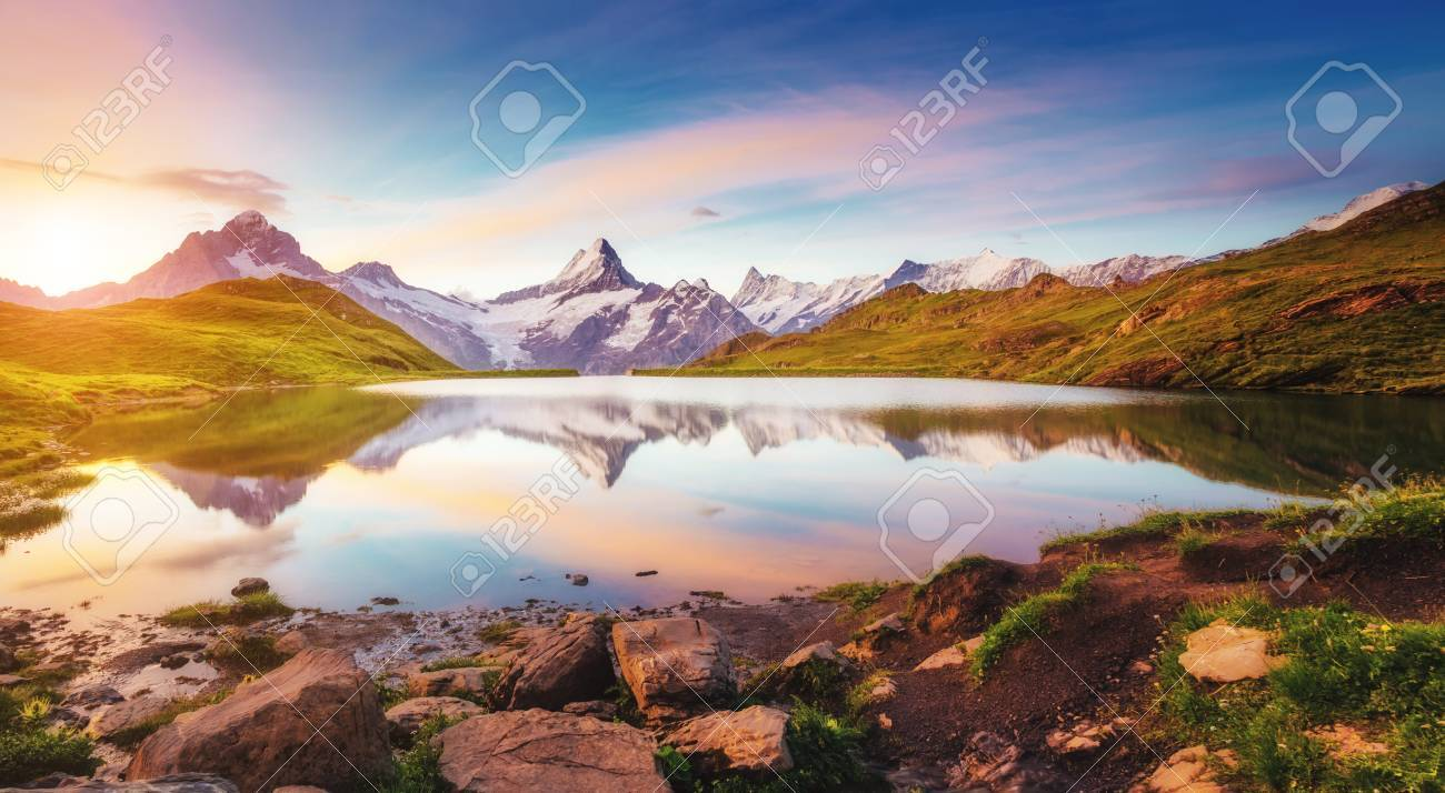 Great view of Mt. Schreckhorn and Wetterhorn above Bachalpsee lake . Dramatic and picturesque scene. Location place Swiss alps, Bernese Oberland, Grindelwald, Europe. Soft filter effect. Beauty world. - 72944772