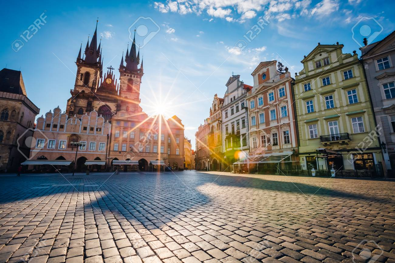 Fantastic view of the Temple of Our Lady before Tyn in sunlight at dawn. Picturesque scene. Location famous place (unesco heritage) old town square on Prague, Czech Republic, Europe. Beauty world. - 81501803