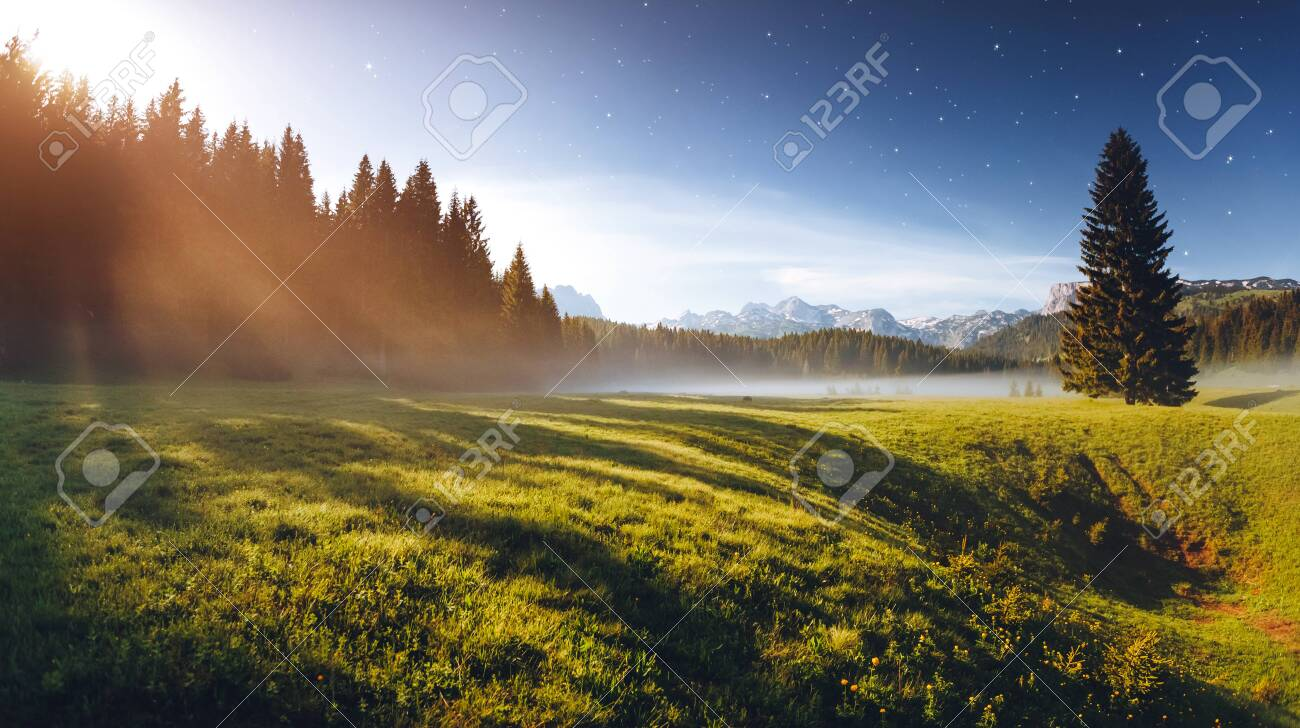 Misty summer night in the Durmitor National park. Location place village Zabljak, Montenegro, Balkans, Europe. Scenic image of the alpine valley. Magic astrophotography. Discover the beauty of earth. - 147223496