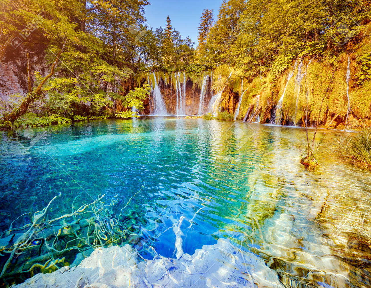 Peaceful view on paradise waterfalls of Plitvice Lakes National Park. Location place of the Croatian famous resort, Balkans, Europe. Most popular tourist destination. Discover the beauty of earth. - 148242723