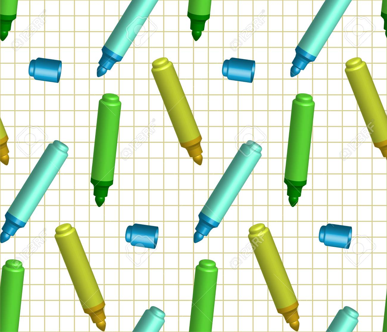 Seamless background with markers on a checkered background  There is a variant in the vector Stock Vector - 22965284