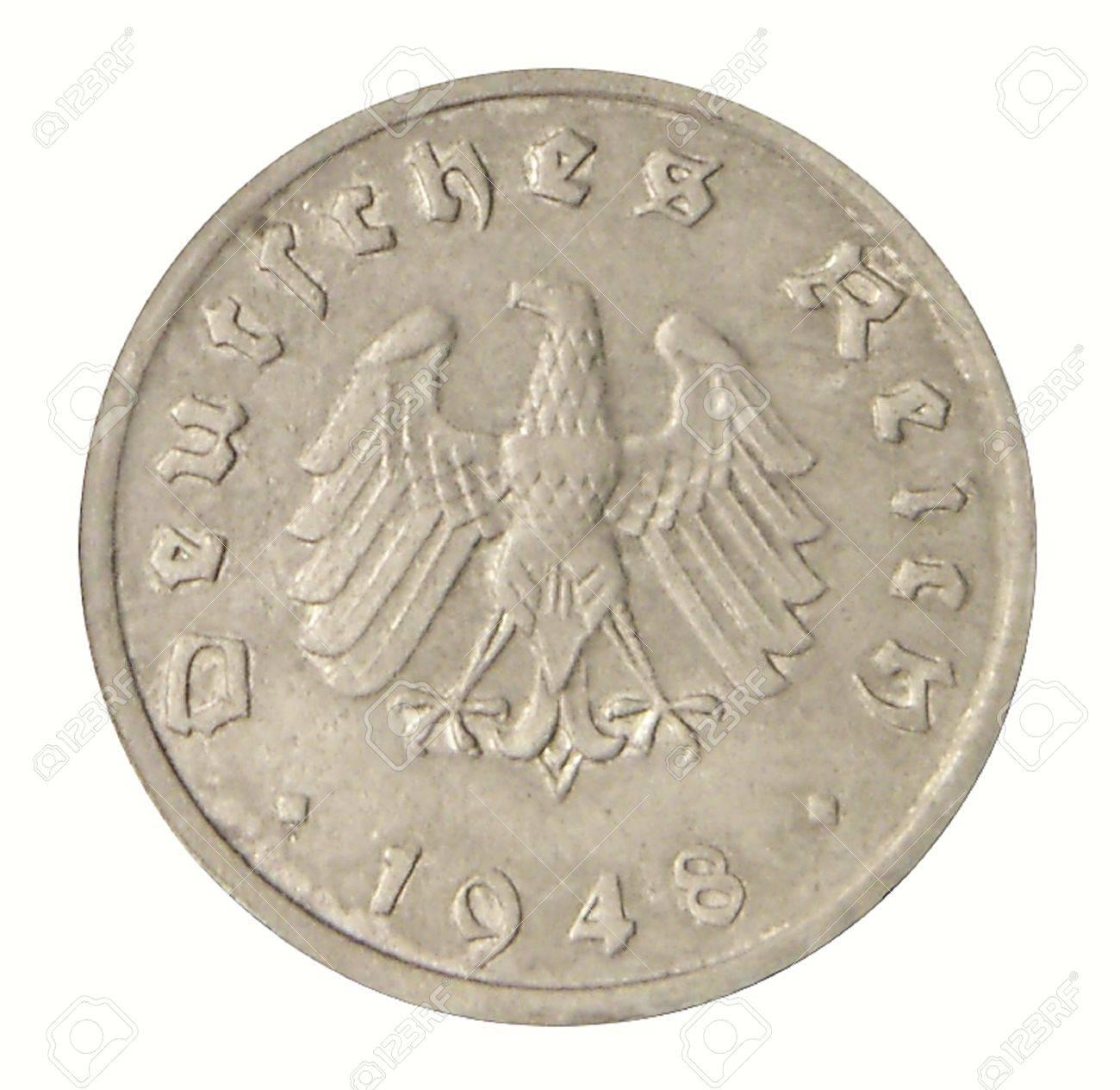 Nahaufnahme Von Einem Alten Deutschen Münze Von 1948 Lizenzfreie