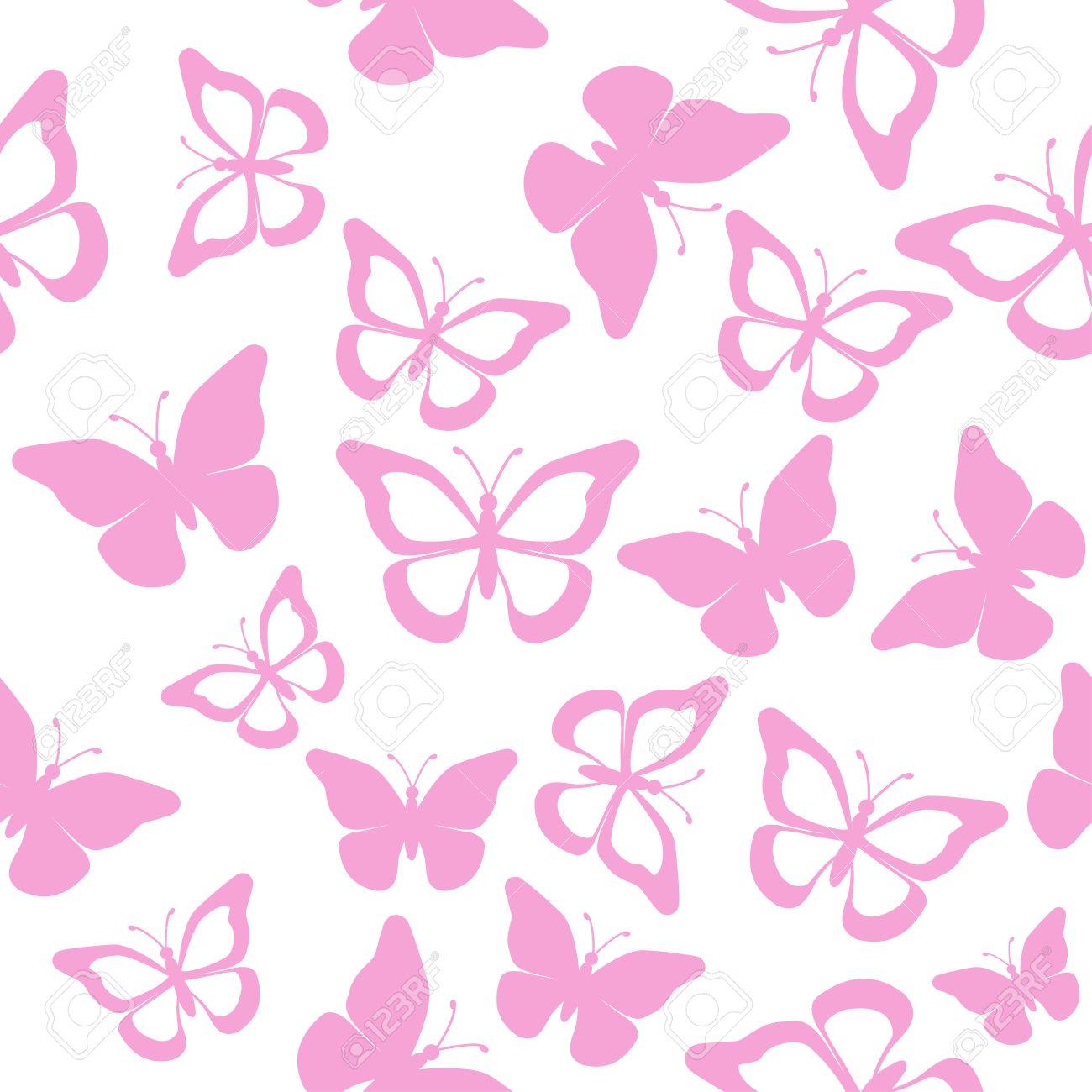 Vettoriale Farfalle Rosa Su Sfondo Bianco Senza Soluzione Di