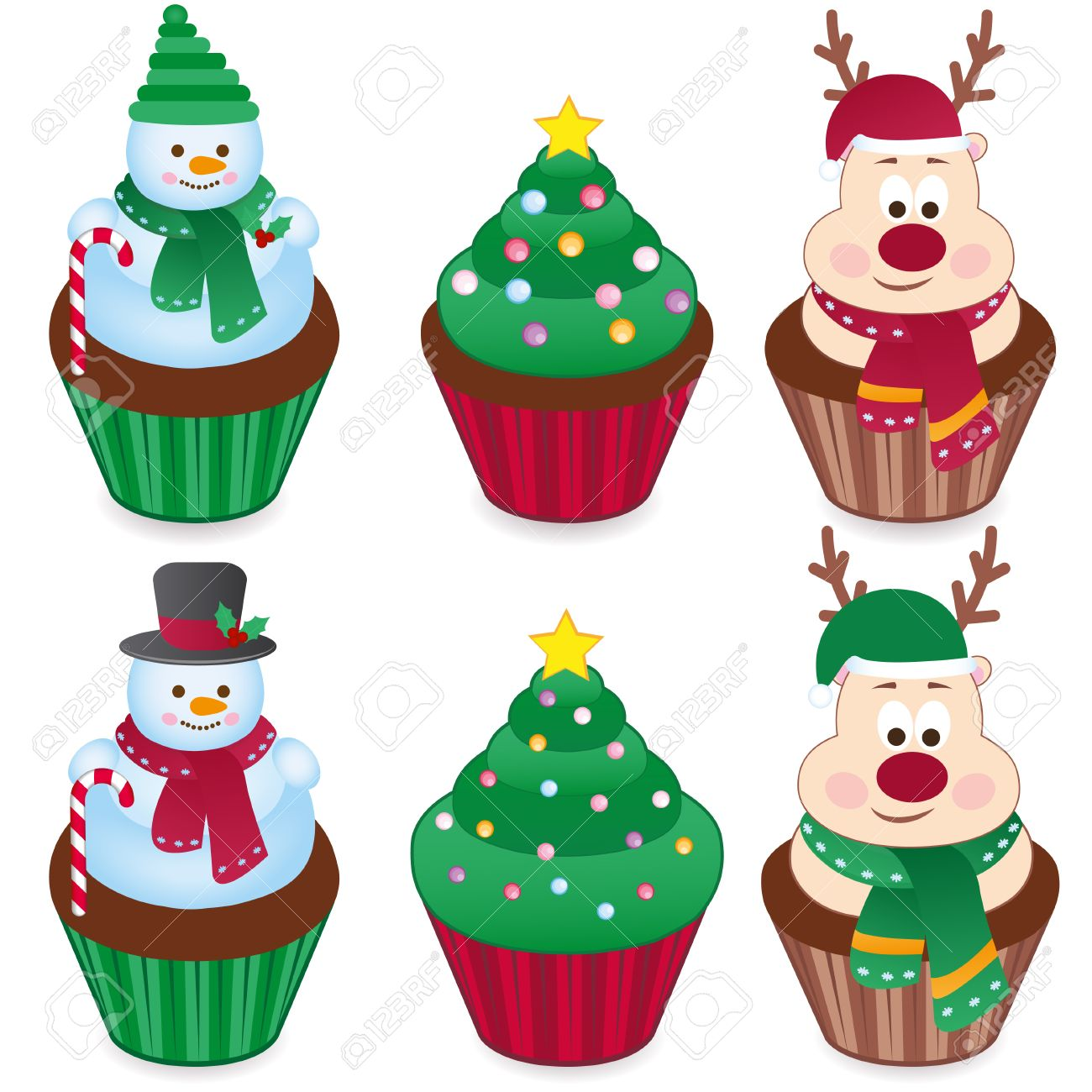 Set Of Six Christmas Cakes. Vector Royalty Free Cliparts, Vectors ...