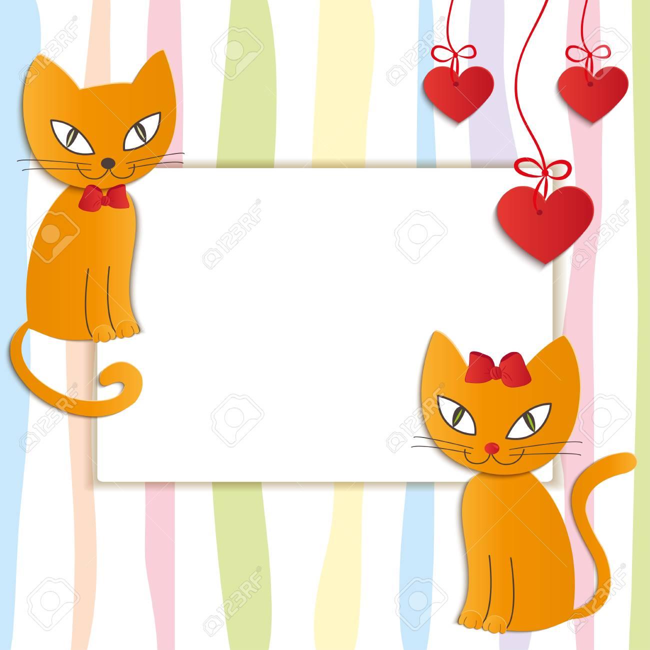 2 つの愛する猫 - イラスト ・ ベクターのロマンチックなカップル