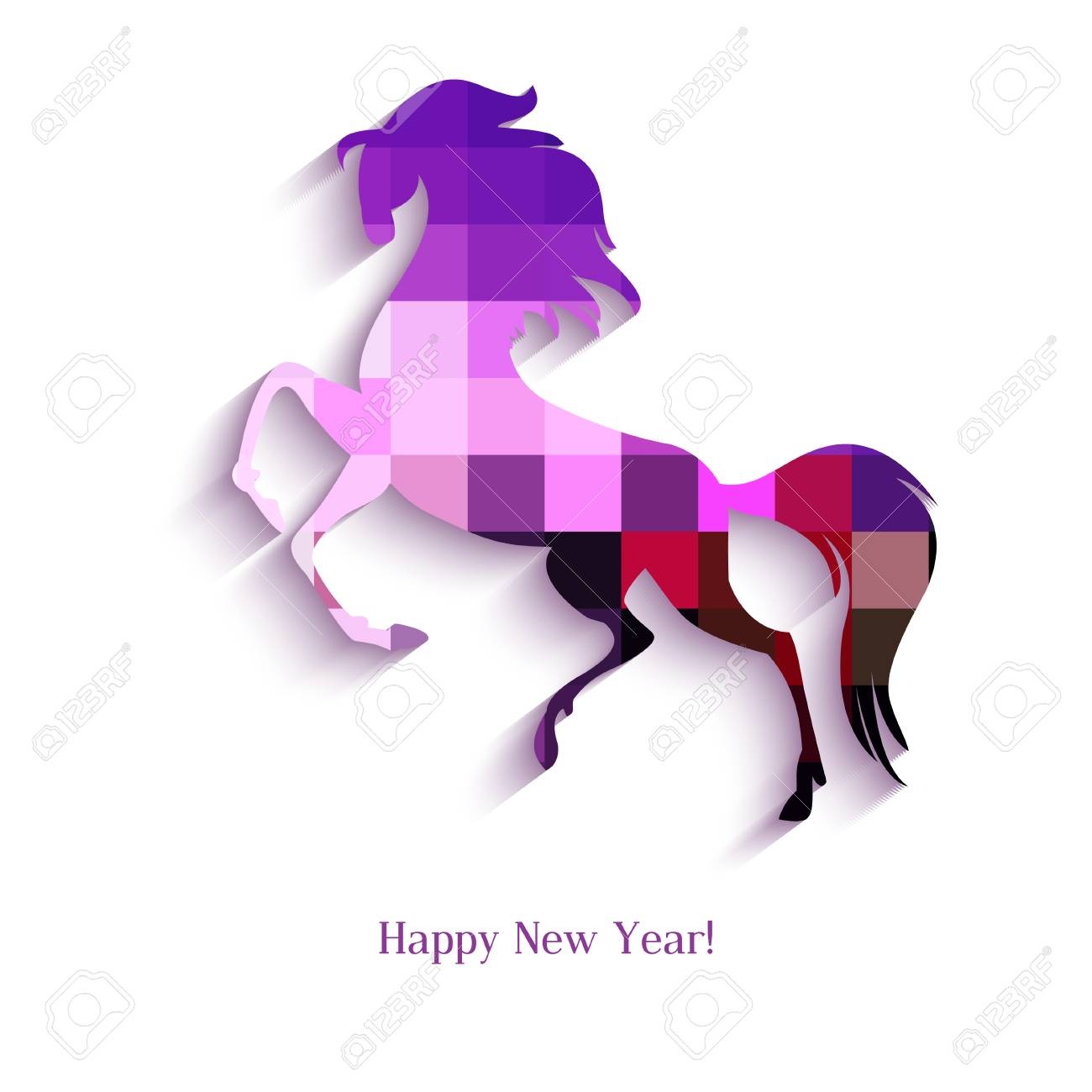 New Year symbol of horse - Illustration, vector Stock Vector - 23552121
