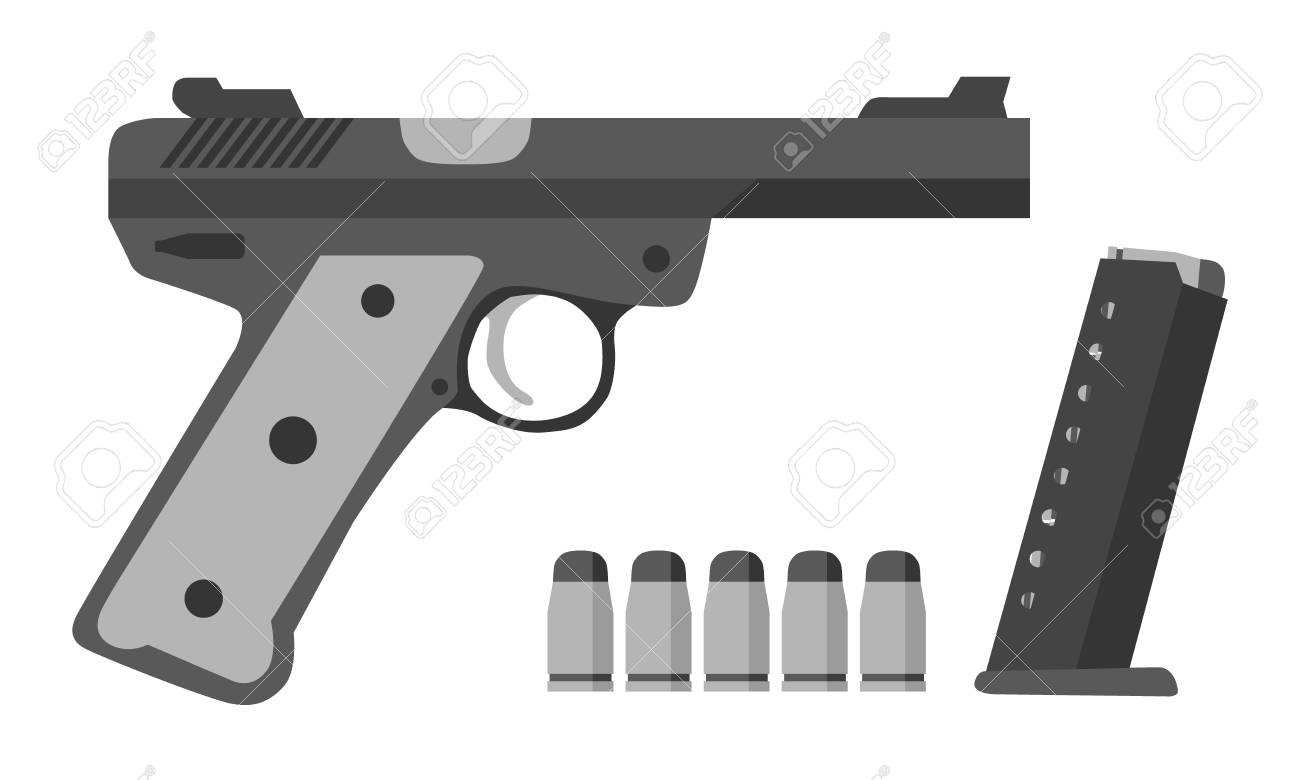 Gun, bullets, clip in flat style  Military police army equipment