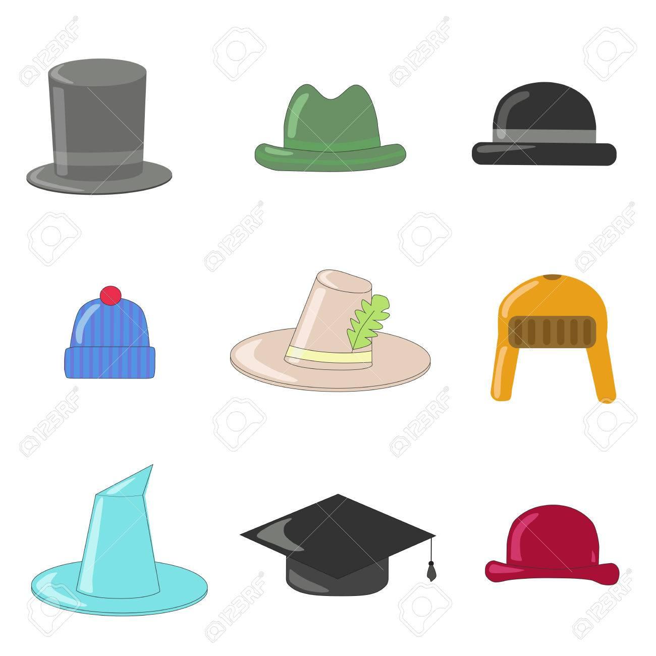 Colección De Sombreros De Dibujos Animados. Los Sombreros Y Los Jugadores  De Bolos Colección 58e5d0a361d
