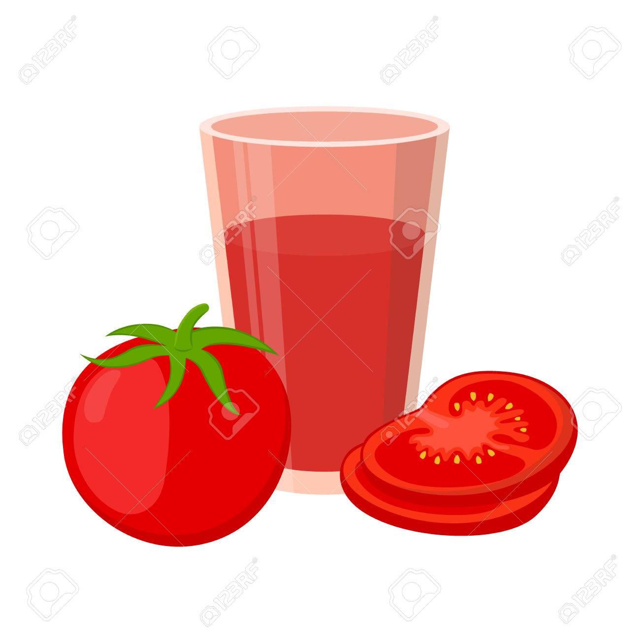 Tomato juice red tomatoes. cartoon flat style. vegetarian fresh