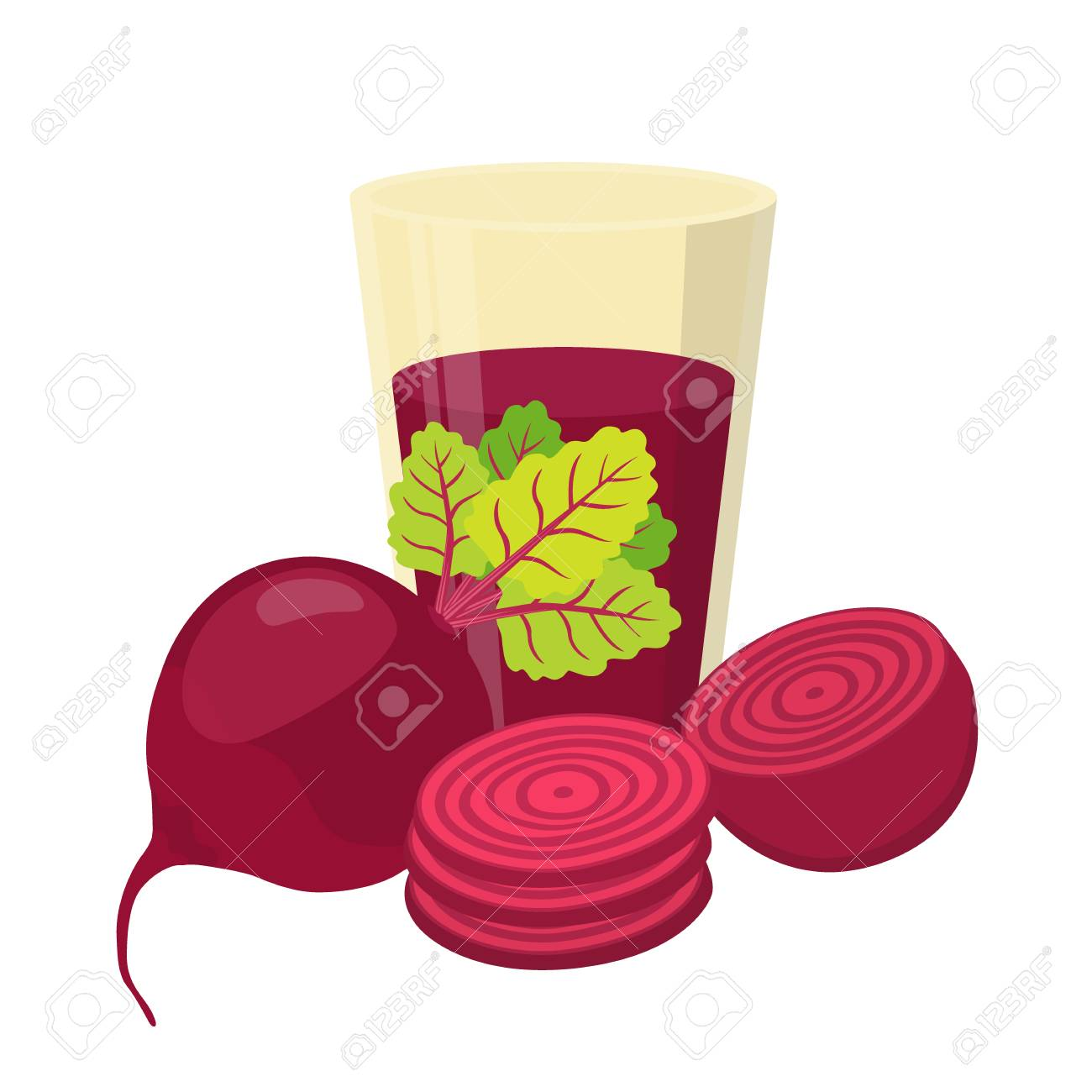 Beetroot juice beetroot and slices. cartoon flat style. vegetarian