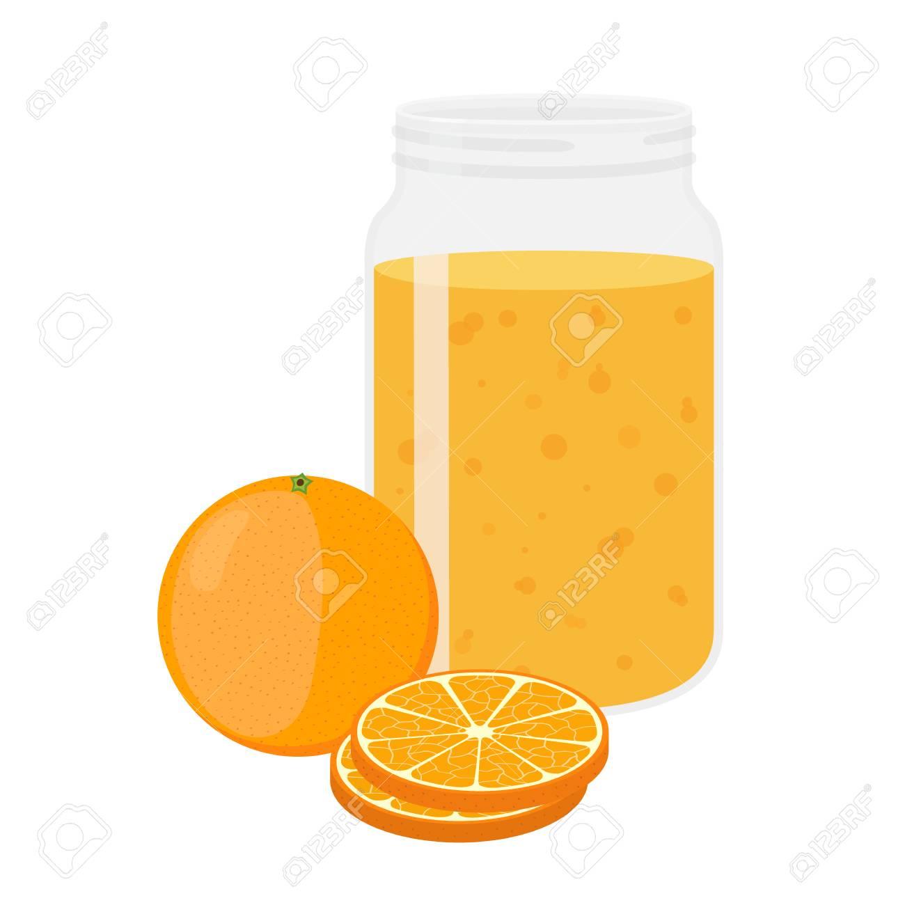 Orange juice orange and slices. cartoon flat style. vegetarian