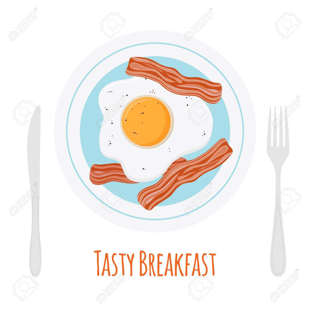 Fried Bacon Scrambled Egg Tasty Breakfast On Plate With Fork Royalty Free Cliparts Vectors And Stock Illustration Image 79228831