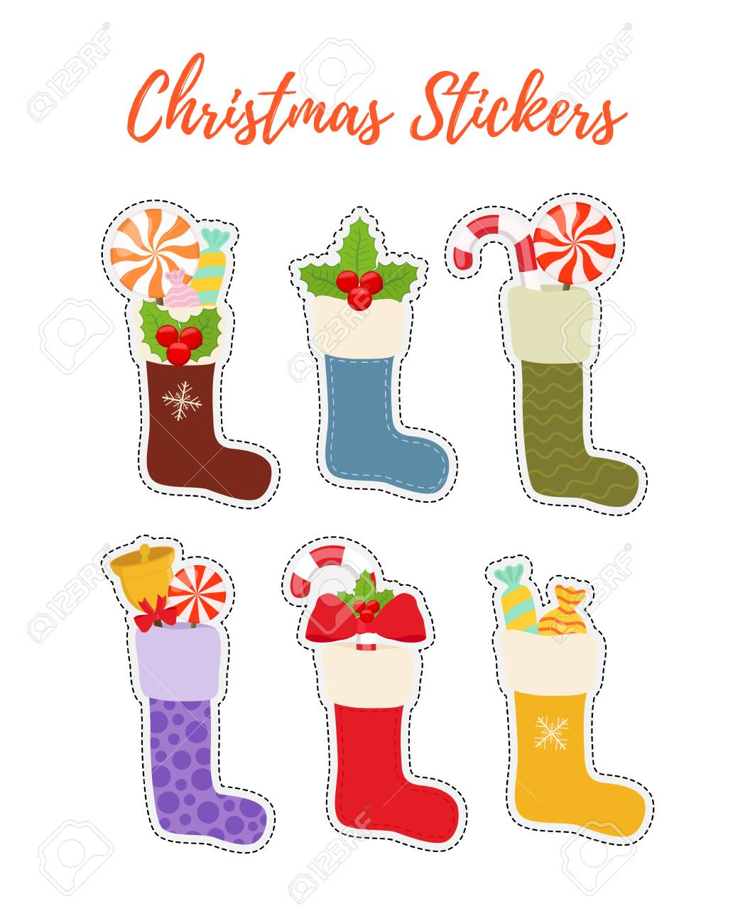 Vector Set Of Stickers With Christmas Stockings, Gifts. Holiday ...