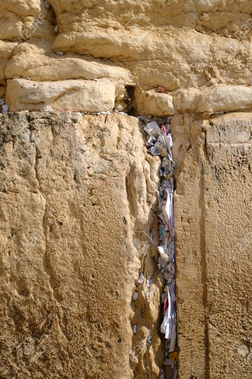 Prayers and wishes at the Western Wall (Wailing Wall) in Jerusalem,