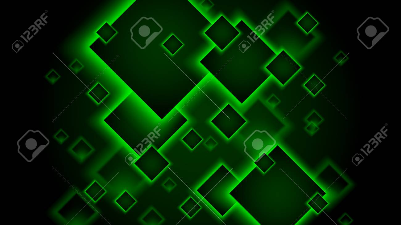 Green Neon Abstract Background Square Tiles Which Fall In The