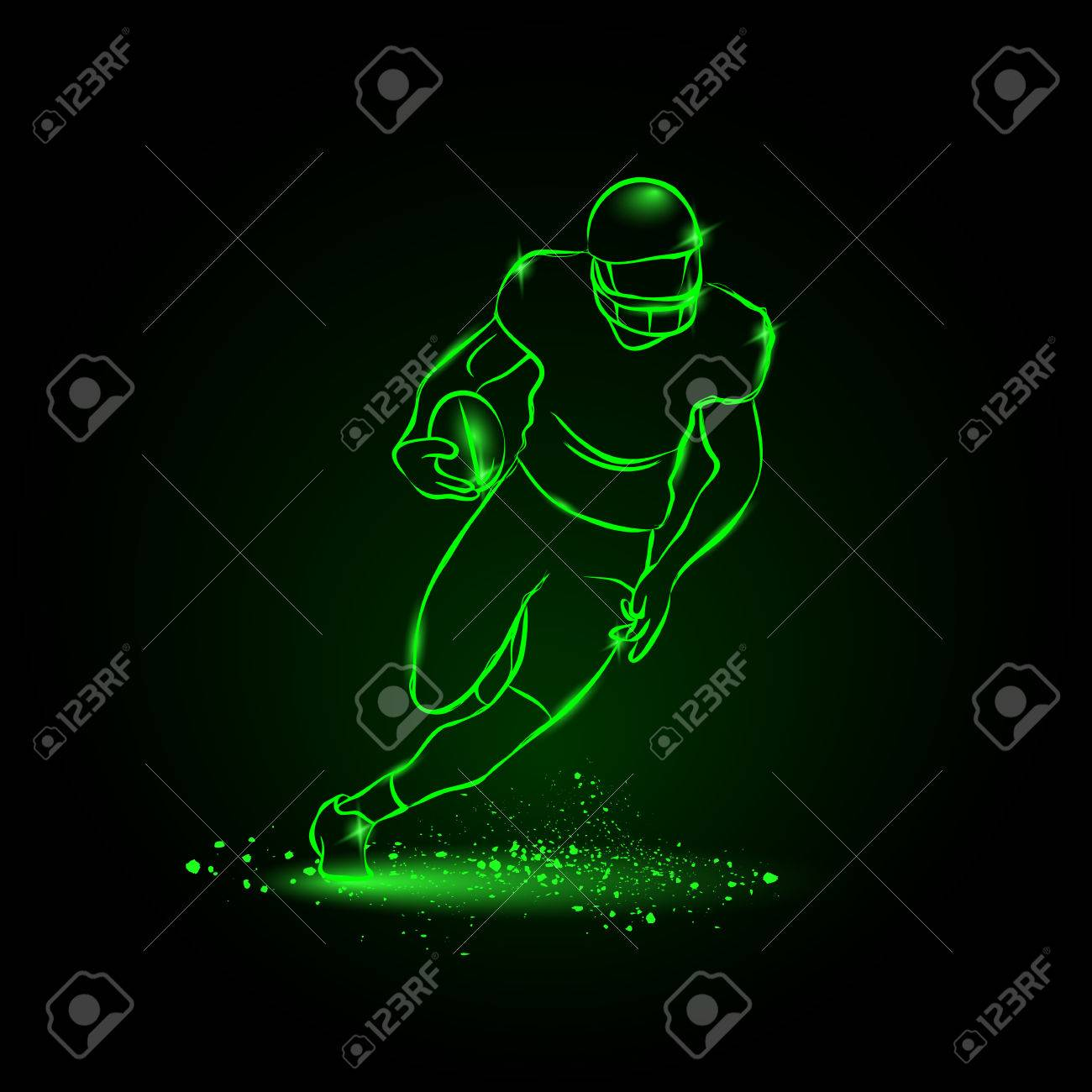 Football. The player runs away with the ball. neon style - 50194437