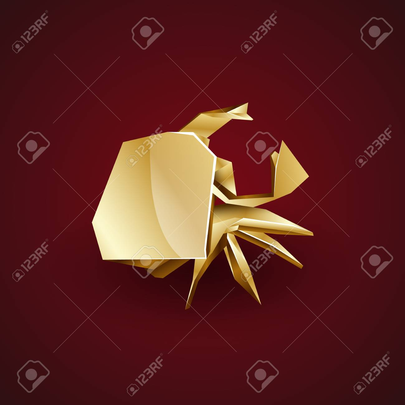 Paper origami crab flat fresh Royalty Free Vector Image | 1300x1300