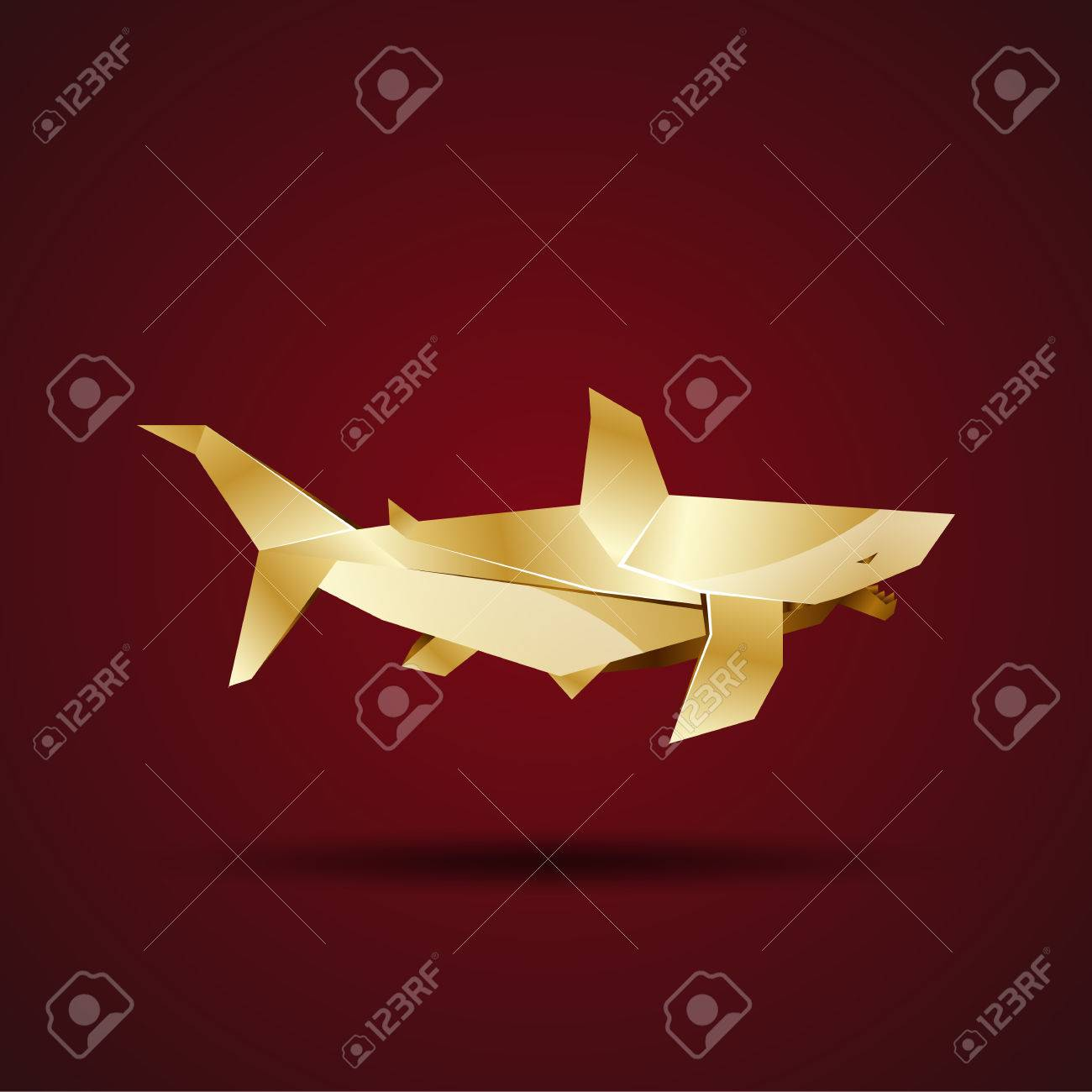 Origami shark element art of Royalty Free Vector Image | 1300x1300