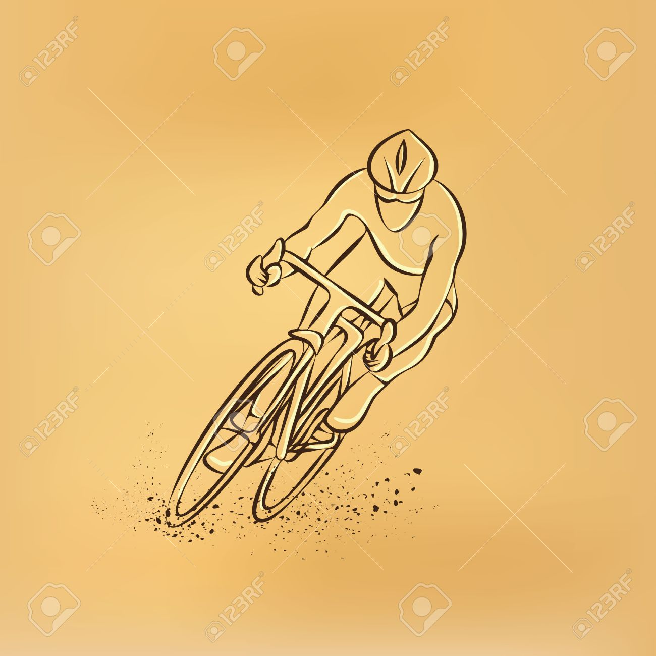 Vélo De Course Vue De Face Vector Retro Dessin Illustration